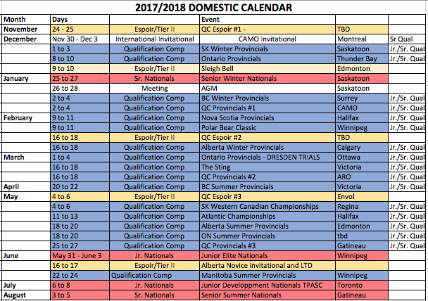 National schedule